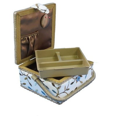 Small Sewing Box - Cream With Brown & Teal Vine GB1007