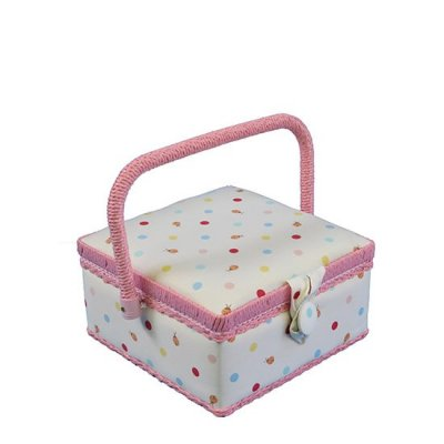 Small Sewing Box - Cream With Ladybirds & Dots GB1094