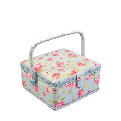 Small Sewing Box - Blue With Pink Rose
