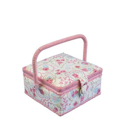 Small Sewing Box - Pink & Blue Roses