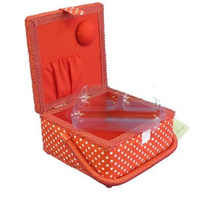 Small Sewing Box - Red With White Spots MRS/19
