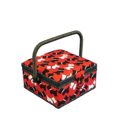 Small Sewing Box - Red With Black & White Scotties GB1169