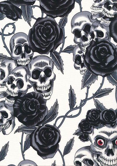 Rose & Hubble - Quality Cotton Print CP-0821 Ivory Skulls