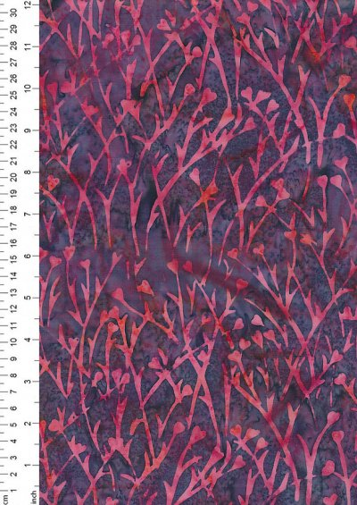 Doughty's Exclusive Bali Batik - Sprigss Pink On Purple