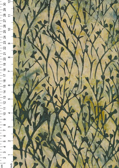 Doughty's Exclusive Bali Batik - Sprigss Green On Yellow