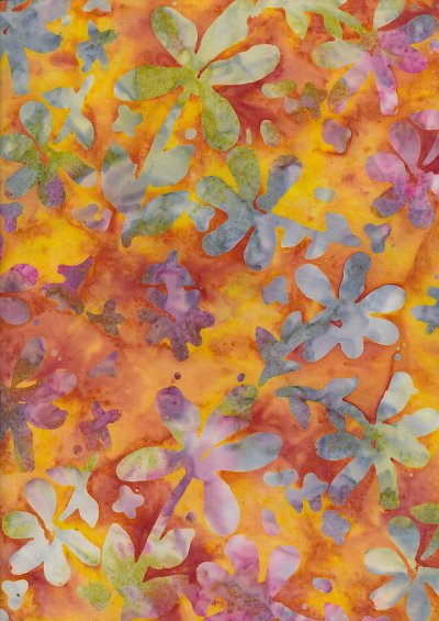 Doughty's Exclusive Bali Batik - Pressed Flowers Multi On Orange