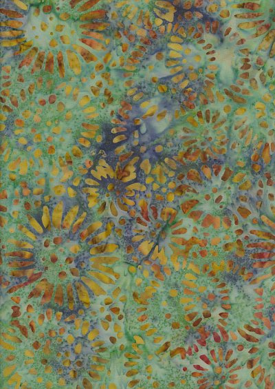 Doughty's Exclusive Bali Batik - SunFlowerss Yellow On Green
