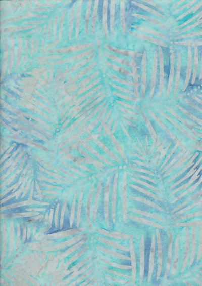 Doughty's Exclusive Bali Batik - Palm Leaves Grey On Turquoise