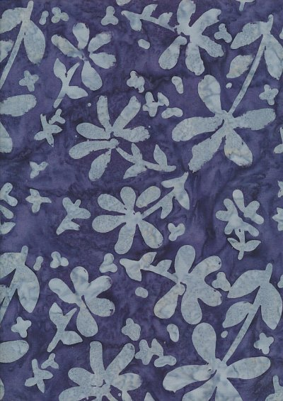 Doughty's Exclusive Bali Batik - Pressed Flowers Grey On Blue