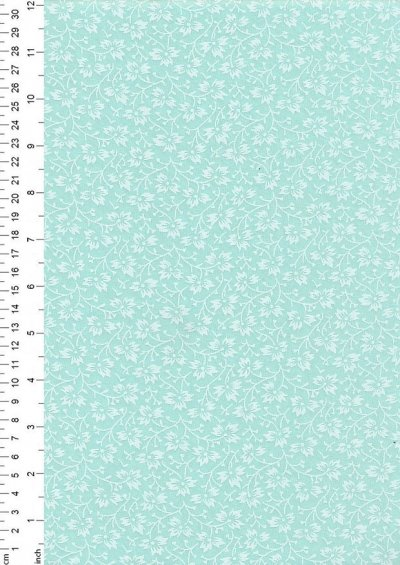 Poly Cotton Print - Floral Mint Green