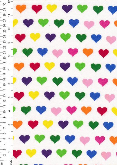 Fabric Freedom Flannel - Multi Hearts Multicoloured