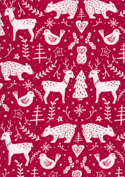 Fabric Freedom Flannel - Scandi Christmas Red
