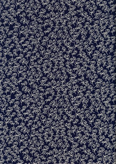 Fabric Freedom - Flowers Linear Rose FF6628 Navy