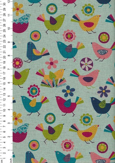 Sevenberry Japanese Fabric - Bright Birds On Turquoise