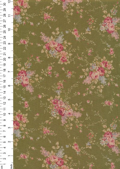 Lecien Japanese Fabric - Vintage Rose 20800-118 GREEN