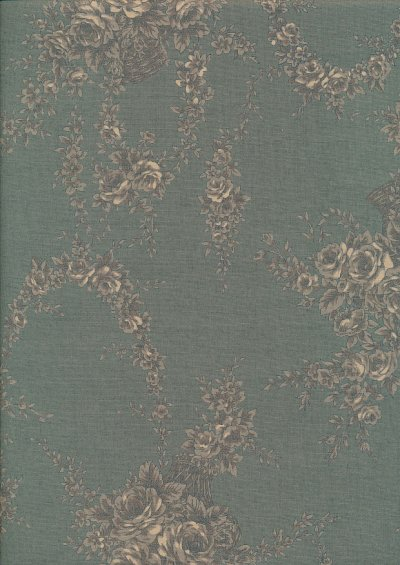 Lecien Japanese Fabric - Vintage Rose 20800-133 TURQUOISE