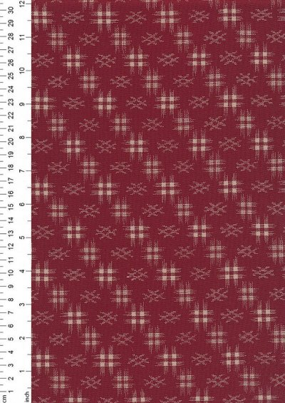 Sevenberry Japanese Fabric - Faded Grid Red