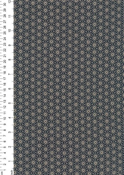 Sevenberry Japanese Fabric - Small Pressed Geometric Flower Navy