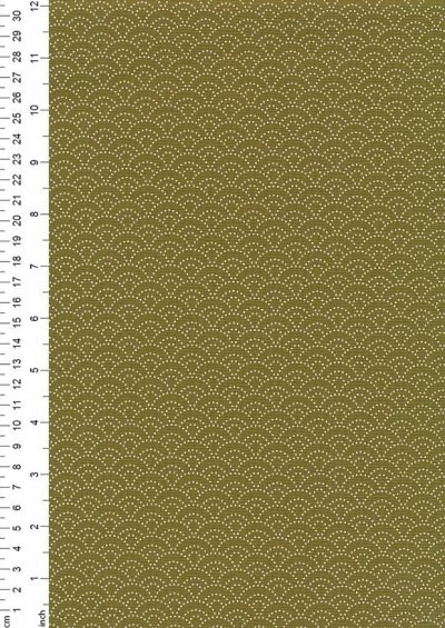 Sevenberry Japanese Fabric - Dotted Scallops Green