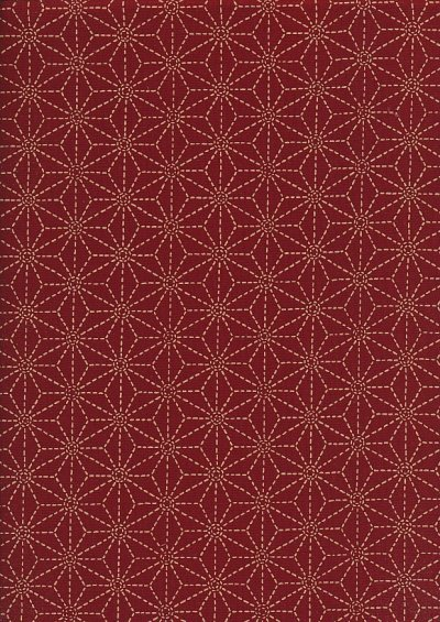 Sevenberry Japanese Fabric - Large Pressed Geometric Flower Red