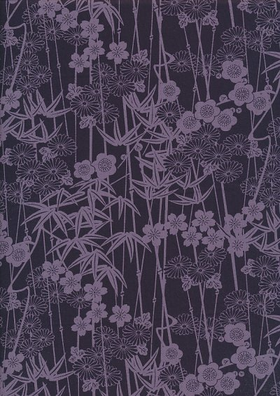 Sevenberry Japanese Fabric - Floral Reeds Purple