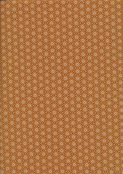 Sevenberry Japanese Fabric - Small Pressed Geometric Flower Orange