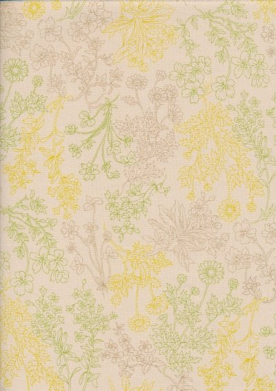 Sevenberry Japanese Fabric - Wild Flowers Cream