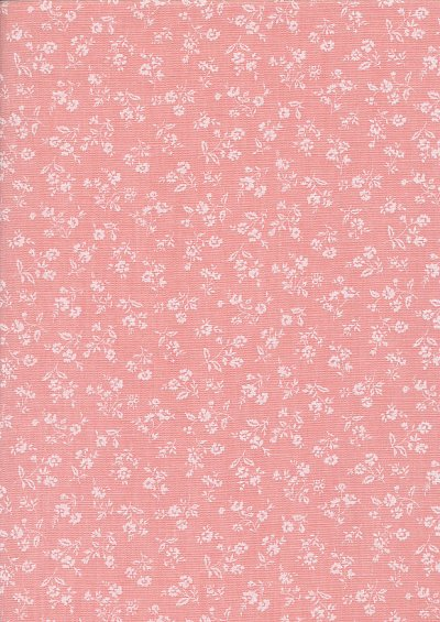 Sevenberry Japanese Fabric - Linen Look Cotton Posy Salmon Pink