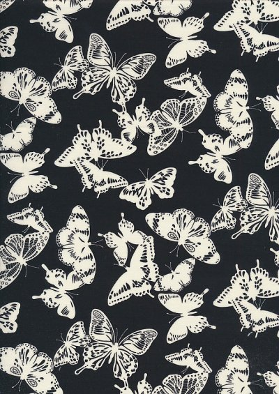 Quality Cotton Print - Butterfly Silhouette Black