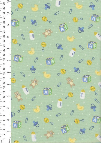 John Louden Organic Cotton Prints - Newborn Baby Range Toys JL CO 386 Col Mint