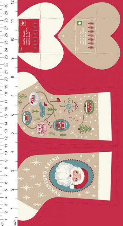 Lewis & Irene - Christmas Panels C22.1 - Parchment North Pole Stockings