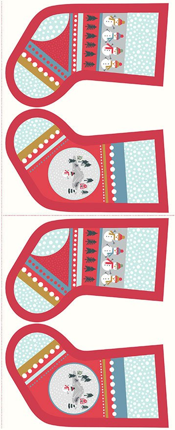 Lewis & Irene - Christmas Panels C39.3 - Snow day stockings red