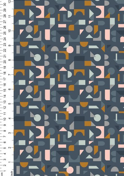 Lewis & Irene - Forme A412.3 - Scattered geometric on navy