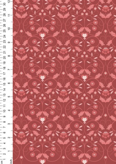 Lewis & Irene - Michaelmas A402.2 - Red Mono Floral