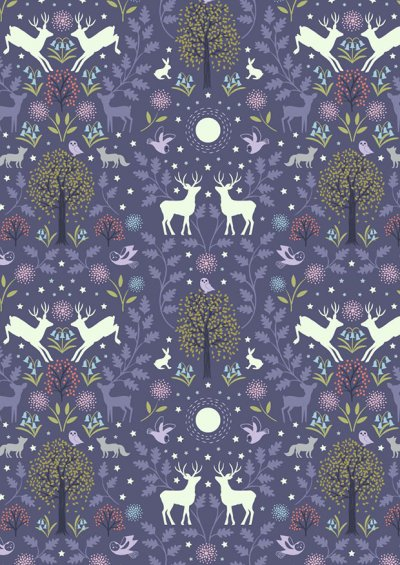 Lewis & Irene - Nighttime In Bluebell Wood A476.2 Mirrored woodland on ink