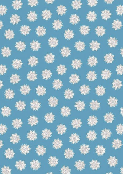 Lewis & Irene - Sew Mindful A264.3 - Flower mandalas on blue