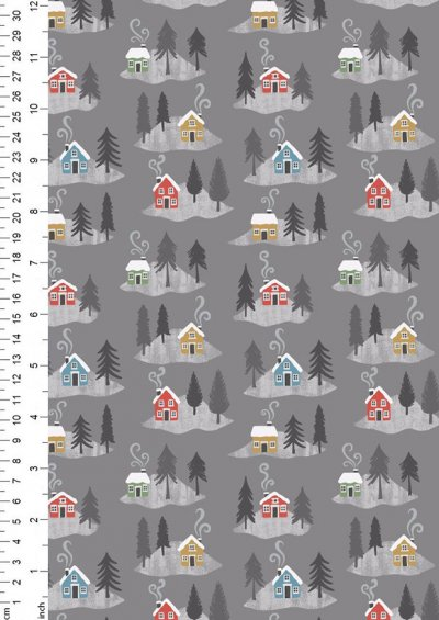 Lewis & Irene - Snow Day C36.3 - Snow day houses on grey