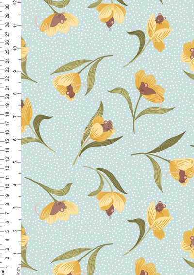 Lewis & Irene - Tulip Fields A460.2 Mouse & tulip on pale blue