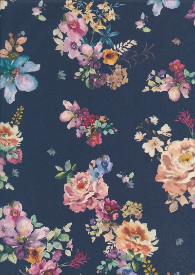 Lady McElroy Cotton Lawn - Midnight Bouquet Blue-755