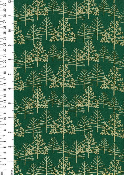 John Louden Christmas Metallic Print - Foil Tree Green/ Gold JLX0017GRE