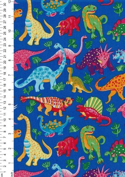 Novelty Fabric - Multi Coloured Dinosaurs On Blue