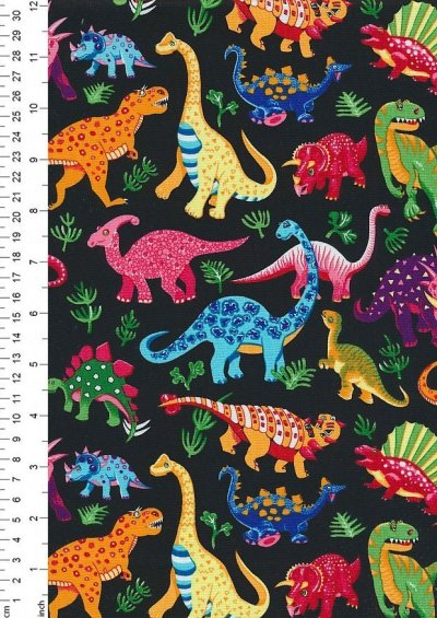 Novelty Fabric - Dinosaurs On Black