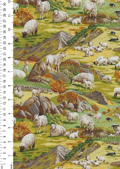 Novelty Fabric - Sheep In The Hills
