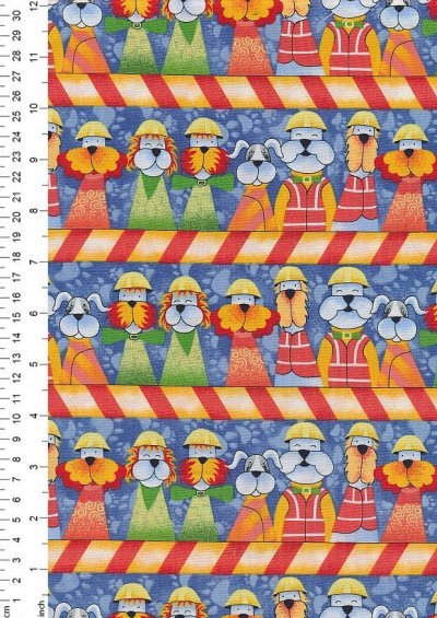Novelty Fabric - Workmen Dogs In a Line