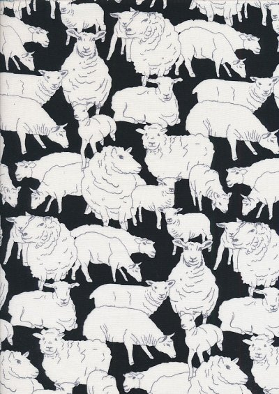 Novelty Fabric - Sheep Sketch On Black