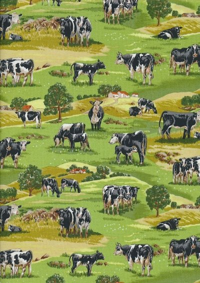 Novelty Fabric - Cows In A Field