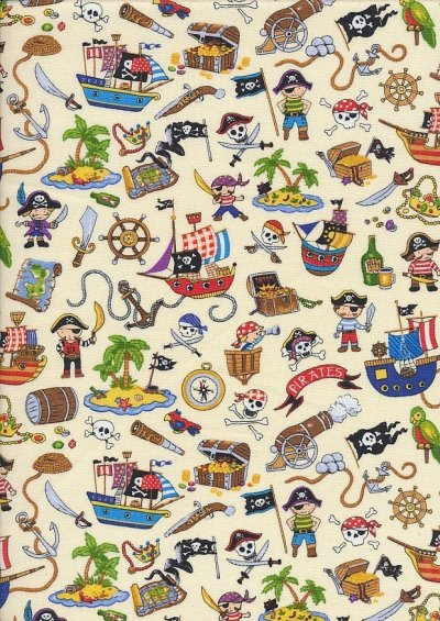 Novelty Fabric - Ditsy Pirate Theme On Cream