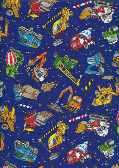 Novelty Fabric - Construction Worksite Scene On Mid Blue