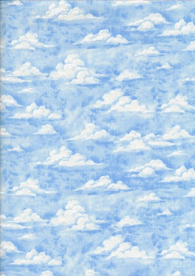 Novelty Fabric - Fluffy Clouds In Blue Sky