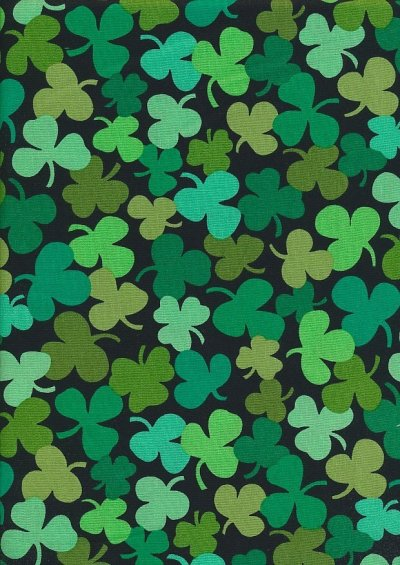 Novelty Fabric - Three Leaf Clovers On Black
